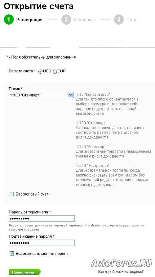 Форма 2 регистрации партнерского счета в ДЦ Forex4you.
