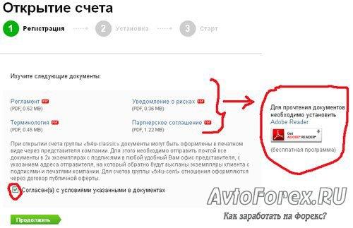 Форма 3 регистрации партнерского счета в ДЦ Forex4you.
