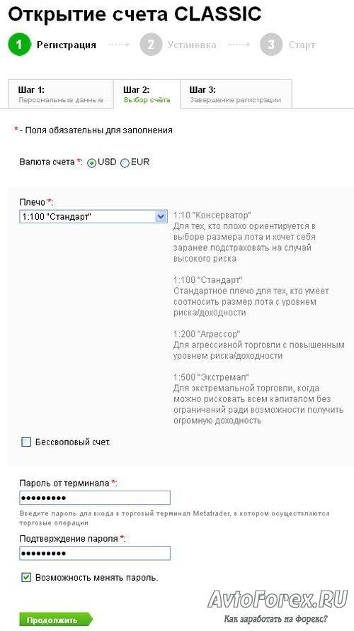 Выбор торгового счета на сайте ДЦ Forex4you.