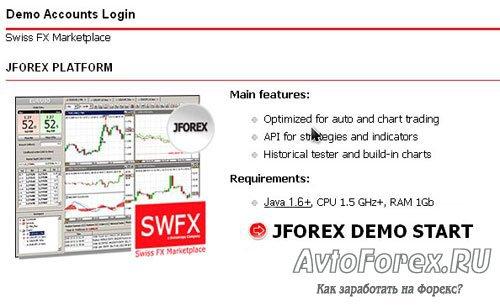 Страница закачки торговой платформы JForex и виртуальной машины Java.