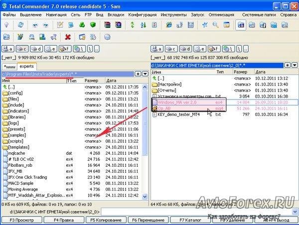 Копирование файлов советника в папки терминала.
