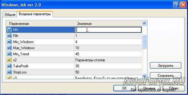 Ручная установка входных параметров советника.