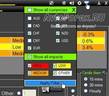 Окно фильтра новостей по валютным парам в программе Forex News Alert.