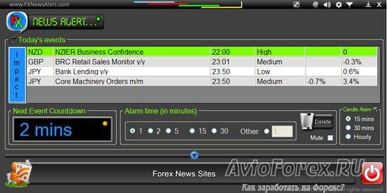 Вид окна программы forex News Alert
