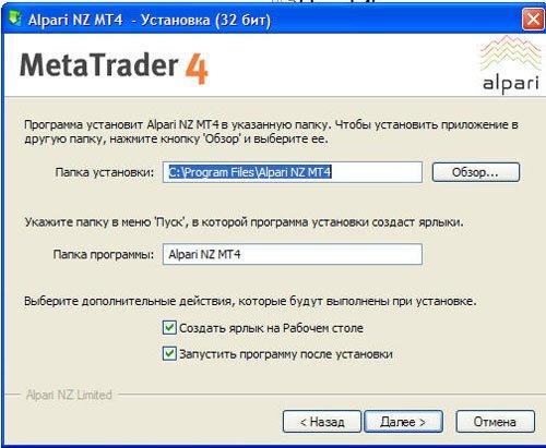 Назначение папки терминала МетаТрейдер 4 при стандартной установке.