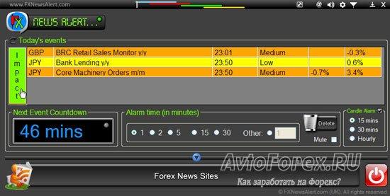 Выделение новости в цвет важности в программе Forex News Alert.