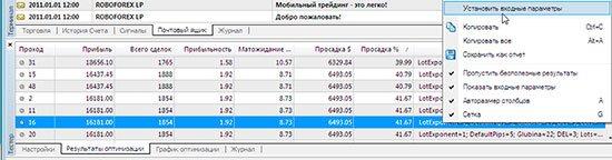 Установить входные параметры советника Илан 1.6.