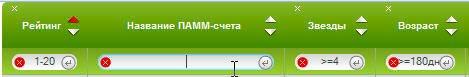 Дополнительные функции рейтинга ПАММ-счетов - указание параметров вручную.