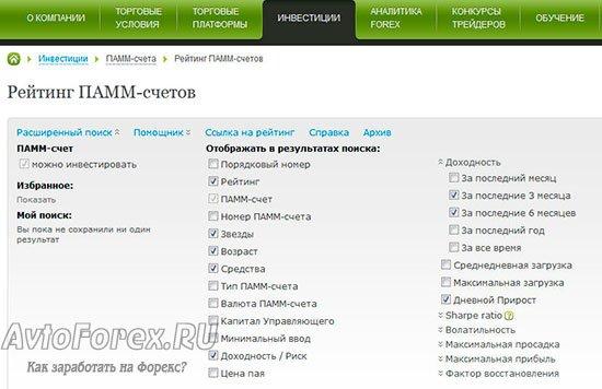 Как пользоваться расширенным поиском ПАММ-счетов.