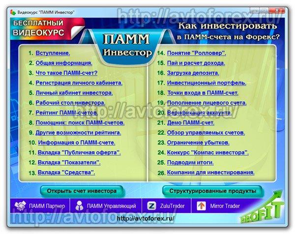 Список видеоуроков и меню курса ПАММ Инвестор.