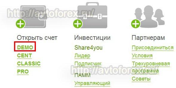 Ссылка на открытие демо счета с регистрацией аккаунта у брокера Форекс4ю.