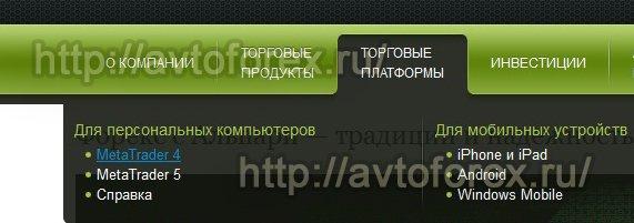 Раздел сайта ДЦ Альпари с ссылками на скачивание плафторм.