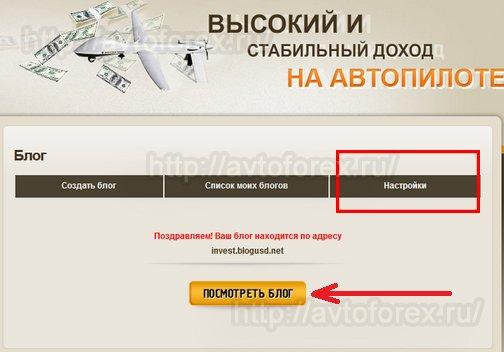 Кнопка просмотра созданного партнером Invest-System блога.
