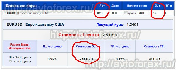 Расчёт стоимости стоп-лосса с помощью калькулятора ММ.