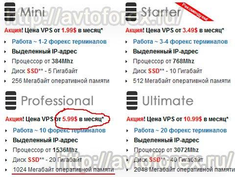 Цена тарифного плана Professional для клиентов компании ВПСФорекс.