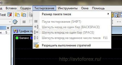 Меню Тестирование в Forex Tester.