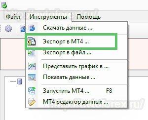 Функция экспорта котировок в МетаТрейдер 4.