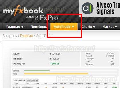 Раздел копирования сделок с сервисом MyFXbook.
