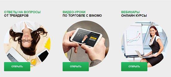 Варианты обучения трейдингу на сайта Binomo.