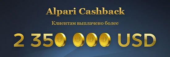 """Объем выплат клиентам по бонусной программе """"Alpari Crashback""""."""
