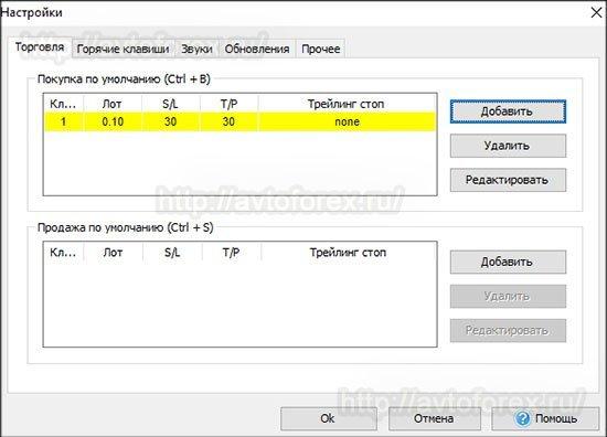 Окно с настройками программы Forex Tester 3.