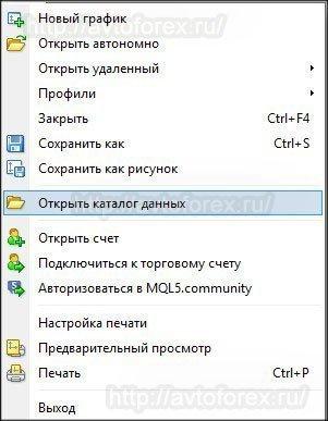 Ссылка на каталог данных терминала MT4.
