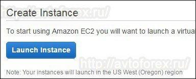 """Клик по синей кнопке """"Launch Instance""""."""