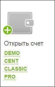 Ссылки для выбора типа счета для открытия счета в ДЦ Forex4you.