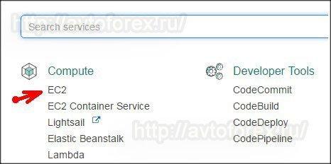 """Выбор сервиса """"EC2"""" для создания сервера VPS."""