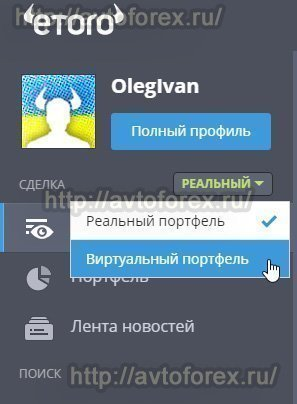 Выбор виртуального профиля в кабинете пользователя брокера еТоро.