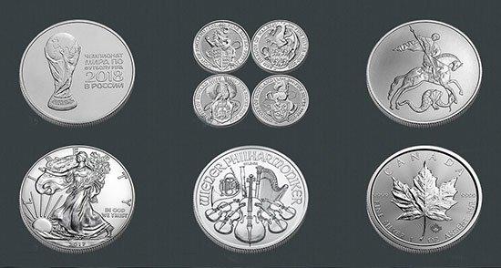 Вид серебярных монет от Альпари.