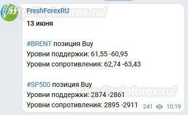 Оповещение с сигналом Форекс в Telegram-канале FreshForex.