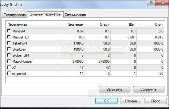 Окно с входными параметрами советника Lucky Grid.